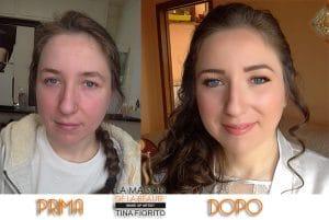 Prima e dopo trucco sposa Tina Fiorito
